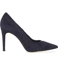Dune Ali Pointed Toe High Heel Suede Court Shoes Navy Suede