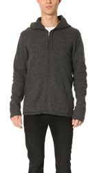 Baldwin Denim Ash Zip Boiled Wool And Cashmere Hoodie Dark Heather Grey