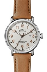 Shinola The Runwell Statue Of Liberty Leather Strap Watch 41Mm Brown Grey Silver
