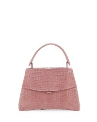 Nancy Gonzalez Curved Bottom Small Crocodile Top Handle Bag Rose