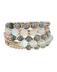 Emily And Ashley Multi Row Simulated Crystal Wrap Bracelet Gray White