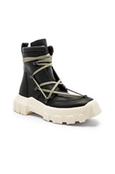 Rick Owens Leather Lace Up Hiking Boots In Black