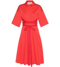 Carolina Herrera Bat Cotton Dress Red