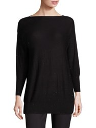 Lela Rose Sequin Embellished Boatneck Sweater Black