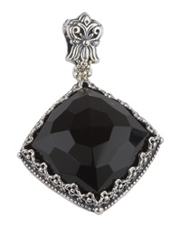 Konstantino Silver And Onyx Square Pendant Enhancer Black