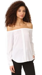 Dkny Long Sleeve Off Shoulder Top White