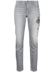 Cambio Embellished Cropped Jeans Grey