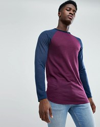 Asos Longline Long Sleeve T Shirt In Linen Look With Curve Hem In Oxblood Oxblood Navy Red
