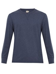 Faherty Notch Long Sleeved Jersey T Shirt Blue