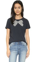 Chinti And Parker Stripe Bow Print Tee Navy Cream