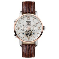 Ingersoll Men's The Grafton Automatic Chronograph Date Heartbeat Leather Strap Watch Brown White
