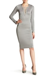 Wow Couture Crisscross V Neck Bandage Dress Gray