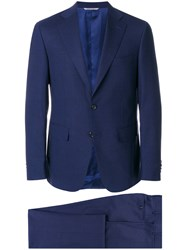 Canali Two Piece Suit Spandex Elastane Cupro Wool Blue