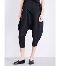 Issey Miyake Pleats Please Loose Fit Cropped Pleated Trousers Black