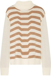 Mara Hoffman Striped Knitted Turtleneck Sweater White