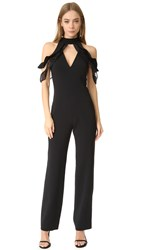 Jonathan Simkhai Lace Ruffle Cold Shoulder Jumpsuit Black