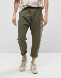 Asos Drop Crotch Trousers With Leather Belt In Khaki Khaki Green