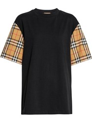 Burberry Vintage Check Sleeve Cotton Oversized T Shirt Black