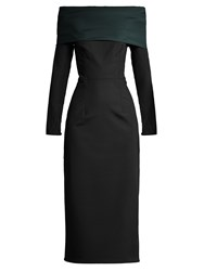 Emilio De La Morena Tasman Bi Colour Silk Blend Dress Black Green