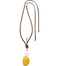 Marni Wood And Leather Pendant Necklace Sun