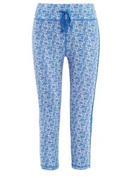 The Upside Nyc China Print Cropped Performance Leggings Blue Print