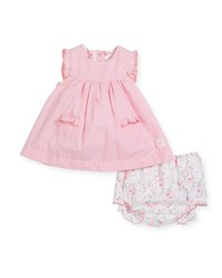 Petit Bateau Ruffle Sleeves Check Dress W Floral Bloomers Pink