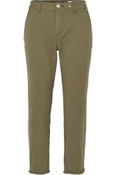 Rag And Bone Buckley Cropped Cotton Blend Twill Straight Leg Pants Green