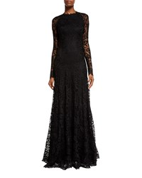 Ralph Lauren Collection Long Sleeve Lace Keyhole Gown Black