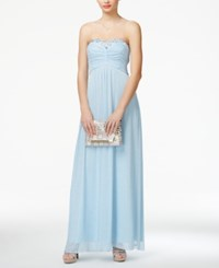 Trixxi Juniors' Jeweled Strapless Empire Waist Gown
