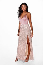 Boohoo Lola Thigh Split Sequin Maxi Skirt Blush