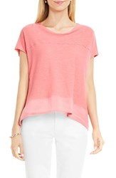 Vince Camuto Women's Two By Mixed Media Step Hem Tee Coral Sands