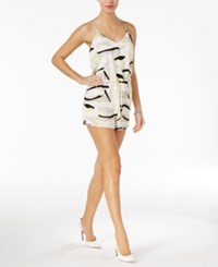 Guess Printed Drawstring Romper Abstract Collage True White