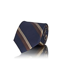 Fairfax Striped Textured Silk Necktie Navy