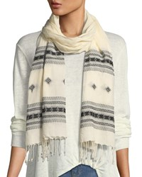 Eileen Fisher Hand Loomed Organic Cotton Scarf Ecru