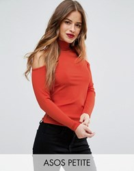 Asos Petite Top With Cold Shoulder And High Neck In Clean Rib Orange
