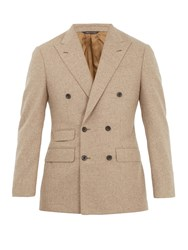 Thom Sweeney Double Breasted Wool Blazer Light Brown