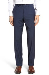Jb Britches Men's Flat Front Plaid Wool Trousers Navy