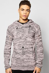 Boohoo Mixed Colour Yarn Destroyed Hoodie Dusky Pink