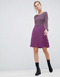 Traffic People Long Sleeve 2 In 1 Skater Dress With Stripped Top Black Red