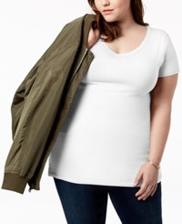 Planet Gold Trendy Plus Size Fitted V Neck T Shirt White