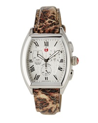 Michele Releve Chronograph Watch W Leather Strap Cheetah Print