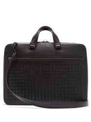 Bottega Veneta Intrecciato Slim Leather Briefcase Black