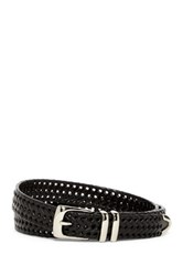 Original Penguin Bonded Leather Woven Belt Black