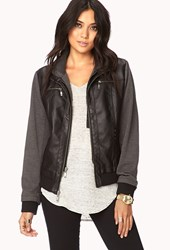 Forever 21 Contemporary Must Have Faux Leather Hoodie Black Charcoal