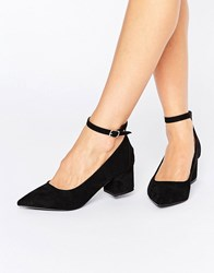 Oasis Pointed Block Heel With Ankle Strap Black