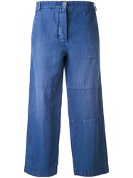 Burberry Cropped Trousers Women Cotton Ramie Polyamide 6 Blue
