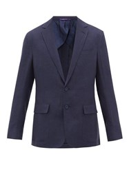 Ralph Lauren Purple Label Single Breasted Silk Blend Suit Jacket Navy