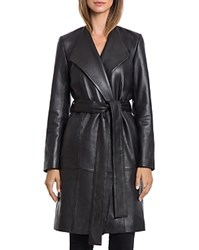 Bagatelle. City Lamb Leather Belted Wrap Coat Black