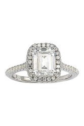 Suzy Levian Jewelry Emerald Cut Cz Sterling Silver Ring White