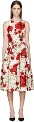 Dolce And Gabbana White Floral Open Back Dress